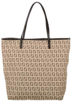 Fendi Zucchino FF Logo Canvas Tote Bag Brown Zucchino FF Logo Canvas Tote Bag