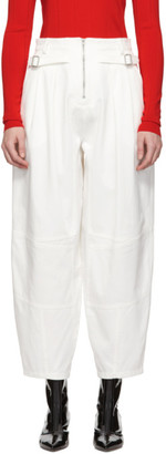 Givenchy White Cotton Gabardine Belted Trousers
