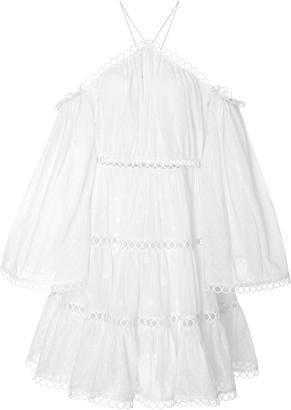 Zimmermann Jasper Dot Floating Cold Shoulder Dress $590 thestylecure.com