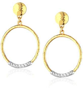 Gurhan Women's Delicate Geo Pave Collection and Diamond Pave Circle Drop Post Earrings