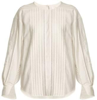 Chloé Diamond Lace Trimmed Cotton Top - Womens - White