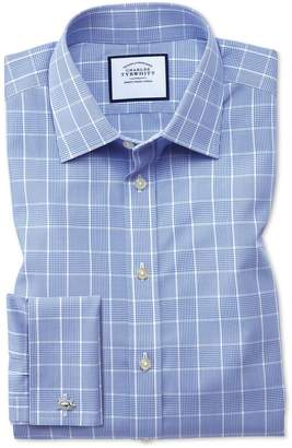Slim Fit Non-Iron Prince Of Wales Mid Blue Cotton Dress Shirt Single Cuff Size 15/32 by Charles Tyrwhitt