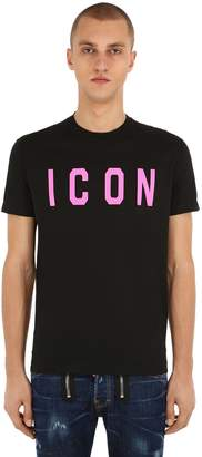 DSQUARED2 Icon Print Cotton Jersey T-Shirt