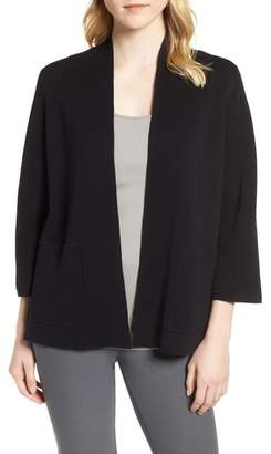 Eileen Fisher Stand Collar Silk & Organic Cotton Cardigan