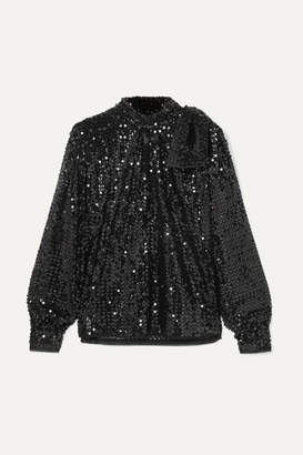 Miu Miu Tie-detailed Sequined Crepe Blouse - Black