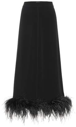 Co Feather-trimmed crepe midi skirt