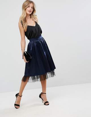 Asos DESIGN Structured Satin Midi Skirt with Tulle Underlayer