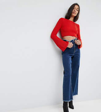 Asos Tall TALL Wide Leg Jeans With Raw Waistband in Blue