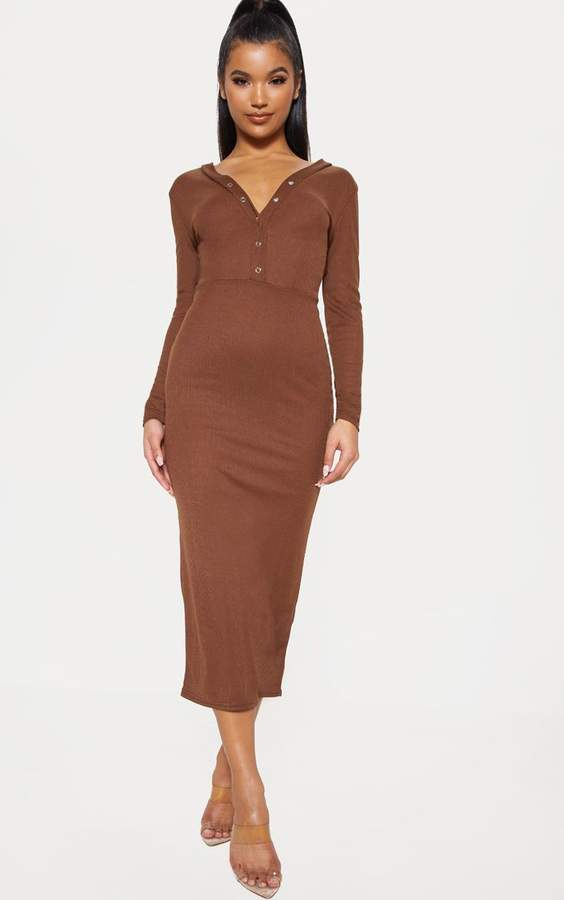 3fc84d277e6c Chocolate Brown Rib Popper Front Plunge Midi Dress