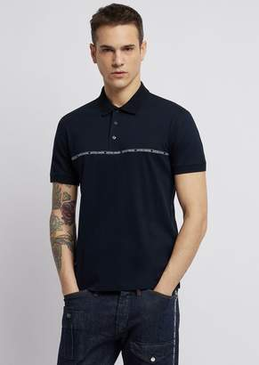 Emporio Armani Lyocell And Cotton Pique Polo Shirt With Logoed Piping Strip