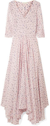 LoveShackFancy Larissa Floral-print Cotton And Silk-blend Maxi Dress - Pastel pink
