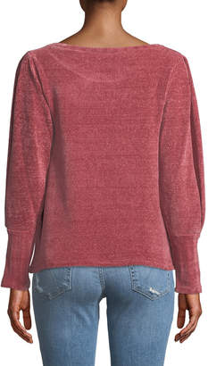 Neiman Marcus Chenille Puff-Sleeve Sweater