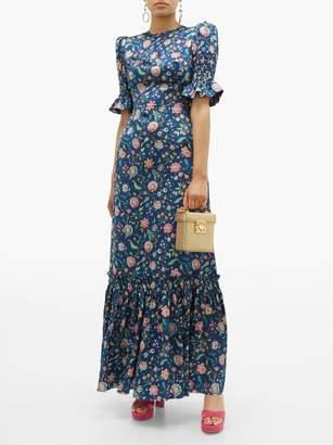 The Vampire's Wife The Night Flight Floral Print Silk Maxi Dress - Womens - Navy Multi