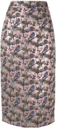 Shanghai Tang floral bird jacquard pencil skirt
