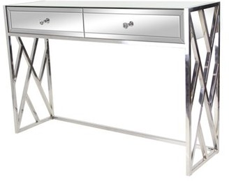 DecMode Decmode Modern Wood and Metal Rectangular 2-Drawer Mirrored Console, Silver