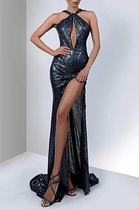 Savee Couture Savee Sequin Slit Dress