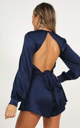Showpo Months away playsuit in navy satin - 4 (XXS) Long Sleeve