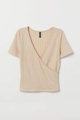 H&M V-neck Jersey Top - Beige