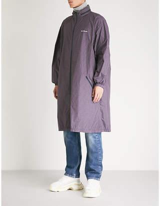Balenciaga Mens Blue and Burgundy Checked Shell Hooded Coat