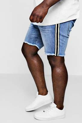 boohoo Big And Tall Raw Hem Taped Side Denim Shorts