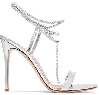 Gianvito Rossi Tennis 105 Crystal-embellished Metallic Patent-leather Sandals - Silver