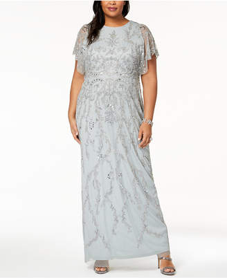 Adrianna Papell Plus Size Beaded Flutter-Sleeve Gown