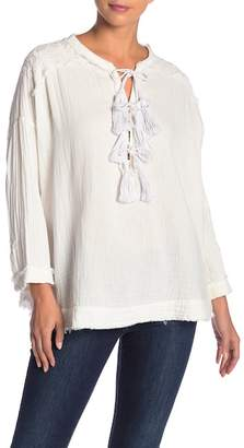 Johnny Was Tassel Tie Neck Blouse