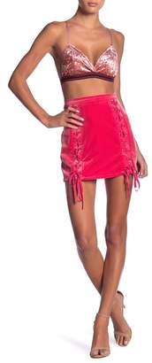 Honey Punch Lace-Up Velvet Mini Skirt