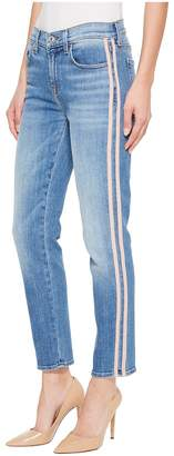 7 For All Mankind Roxanne Ankle w/ Pink Faux Suede Stripes in Vintage Blue Dunes Women's Jeans