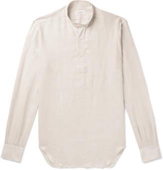 Berg & Berg Frans Grandad-Collar Linen Half-Placket Shirt