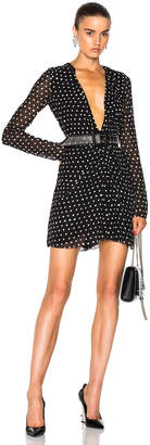 Saint Laurent Plunging Polka Dot Mini Dress