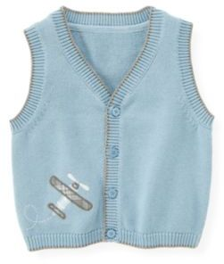 Janie and Jack Plane Button Sweater Vest