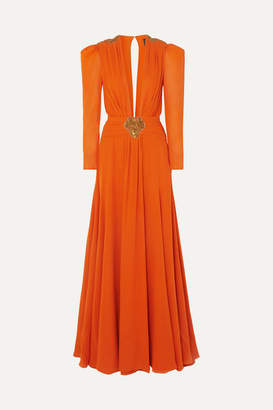 Dundas Embellished Pleated Silk-crepe De Chine Gown - Orange