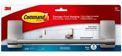 Command Bath 9 inch Satin Nickel Hand Towel Bar, 1 Towel Bar, 4 Medium Water-Resistant Strips