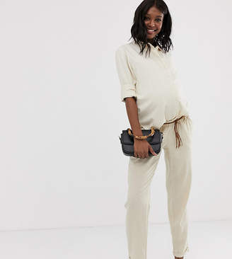Mama Licious Mama.Licious Mamalicious maternity linen braided belt trouser