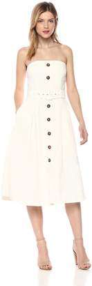 cebe0e6d3a3 Moon River Women s Strapless Button Down Belted FIT   Flare MIDI Dress ...