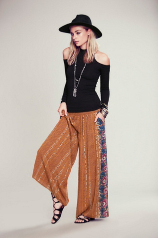 Free People Womens Border Print Smocked Wideleg