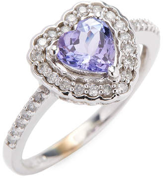 Rina Limor Fine Jewelry 10K Heart Tanzanite & Diamond Halo Ring