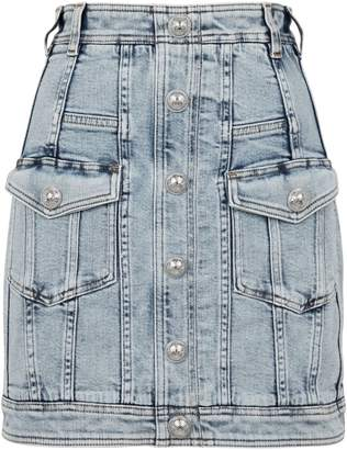 Balmain Acid Wash Denim Skirt