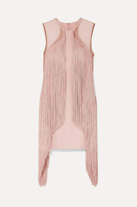 Stella McCartney Tulle-paneled Fringed Stretch-cady Mini Dress - Blush