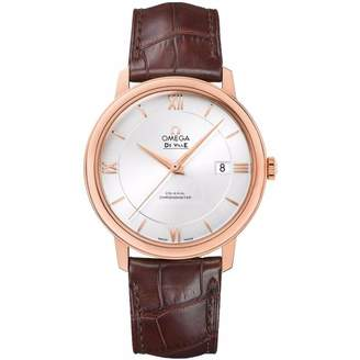 Omega Men's De Ville 39.5mm Brown Leather Band Rose Gold Plated Case Automatic Watch 424.53.40.20.02.001