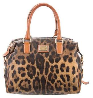 Dolce & Gabbana Leopard Print Coated Canvas Satchel