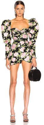 Alessandra Rich Rose Print Puff Sleeve Mini Dress in Black & Pink | FWRD