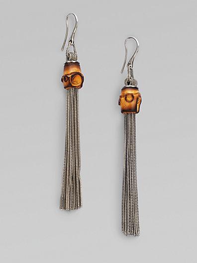 Gucci Bamboo Sterling Silver Foxtail Tassel Earrings
