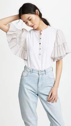 Rebecca Taylor Short Sleeve Textured Stripe Jersey Top
