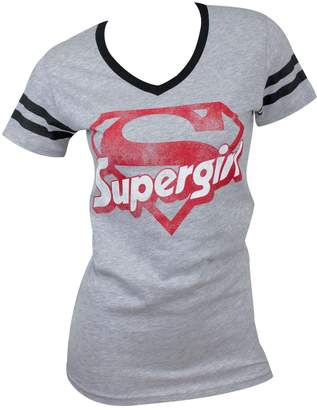Bioworld Supergirl Logo Varsity V-Neck T-Shirt (M, )