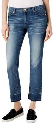 Michael Kors MICHAEL Womens Frayed Light Wash Straight Leg Jeans Denim