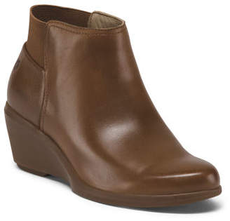 Leather Comfort Wedge Ankle Booties