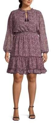 ABS by Allen Schwartz Plus Floral Long-Sleeve Dress