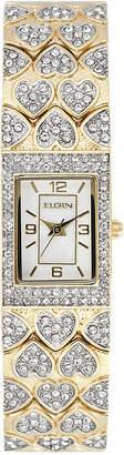 Elgin Womens Crystal Hearts Rectangular Bracelet Watch